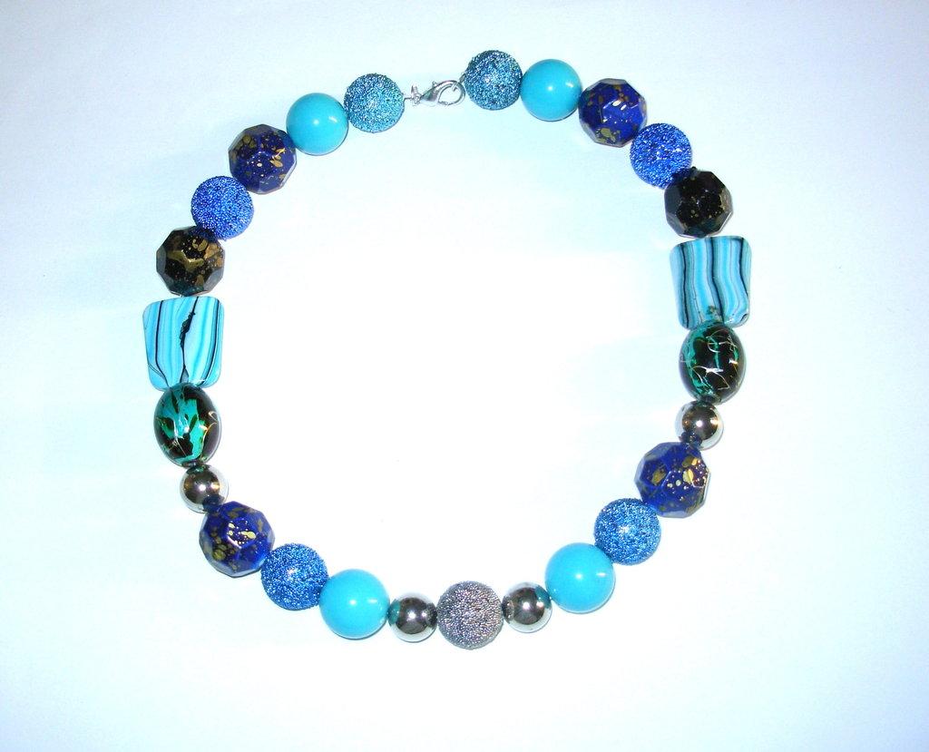collana perle pvc turchese