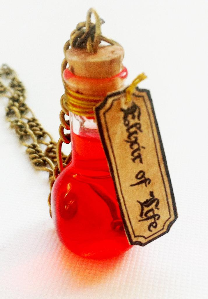 Collana con pendente a bottiglietta: Elixir of Life Harry Potter