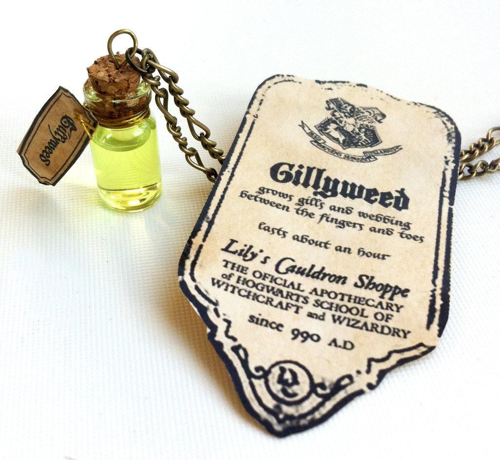 Collana con pendente a bottiglietta: Gillyweed Harry Potter