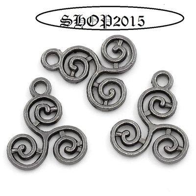 pendente, ciondolo celtco a spirale Canna di Fucile 16×13mm