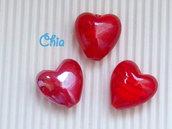 3 perle a cuore in vetro rosso 20x20mm circa