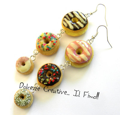 Orecchini triplo Donut - Ciambella di Homer Simpson - Cioccolato, glassa, codette.