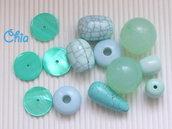 lotto 13 pz maxi perle nei toni acquamarina