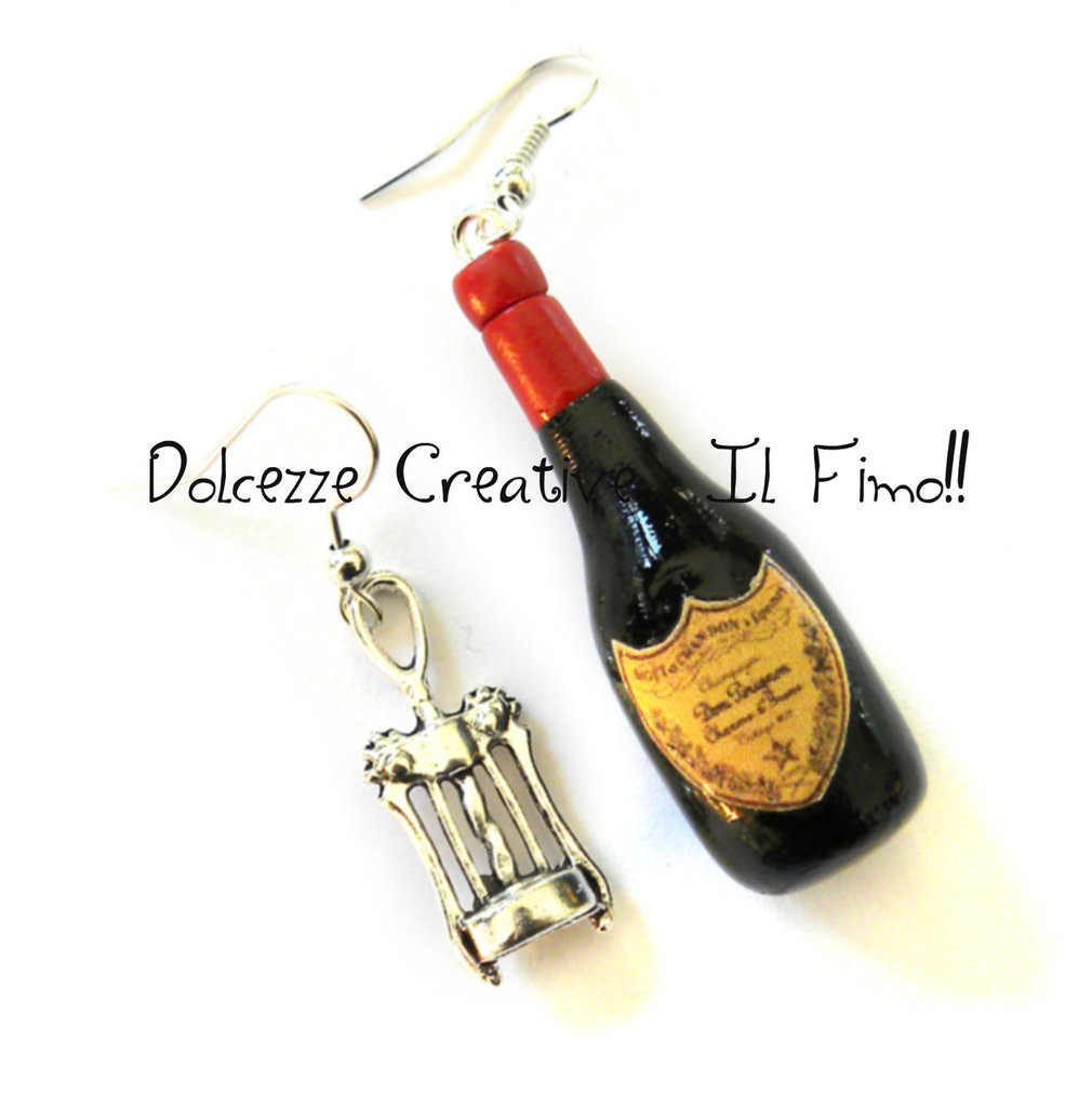 Orecchini Bottiglia di vino e cavatappi - Champagne, idea regalo sommelier (su ordinazione)