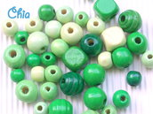 lotto 35 perle legno verde misto