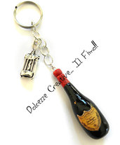 Portachiavi Bottiglia di vino e cavatappi - Champagne, idea regalo sommelier (su ordinazione)
