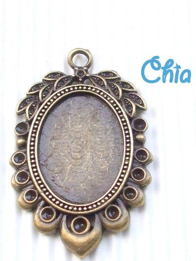 1 base per cabochon/cammeo bronzo stile vintage