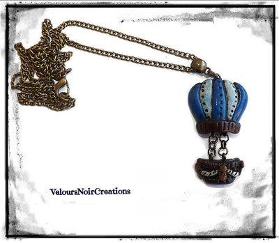 Collana vintage  in bronzo ciondolo mongolfiera steampunk