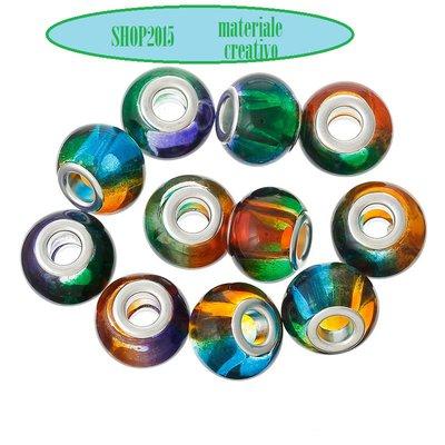 5 mix  perle a foro largo lampwork in vetro Fantasia AB  14 x11mm  foro 4,9 mm