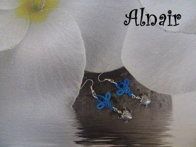 Orecchini Quilling Blu con Tartaruga