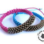 Bracciale Nodi macrame shamballa rosa & celeste braccialetto donna