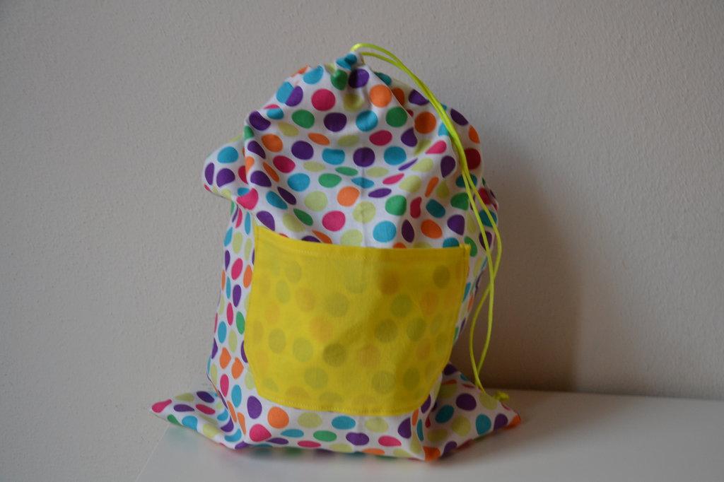 sacchetto asilo per cambio a palle colorate fatto a mano in cotone
