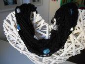 girocollo nero in lana multifilo