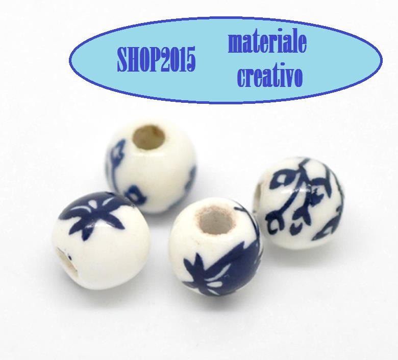 Perla in ceramica con fiore blu 6 mm
