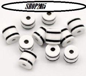 Distanziatori Perle a cubo  in resina a Righe Bianco/Nero 6×5mm
