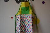 Grembiulino bambini per dipingere o cucinare in tessuto naturale fatto a mano