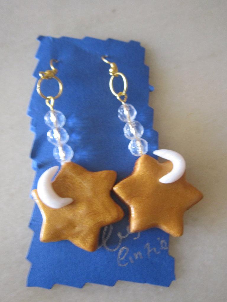 orecchini stelline dorate in fimo