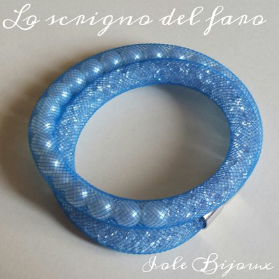 Bracciale rete tubolare blu con perle e strass stile Stardust