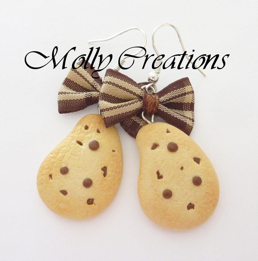 Orecchini biscotti Gocciole in Fimo