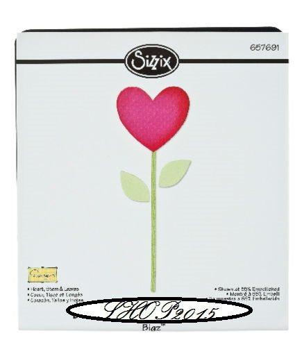 Sizzix Sizzlits   fustella mascherina cuore con gambo e foglie