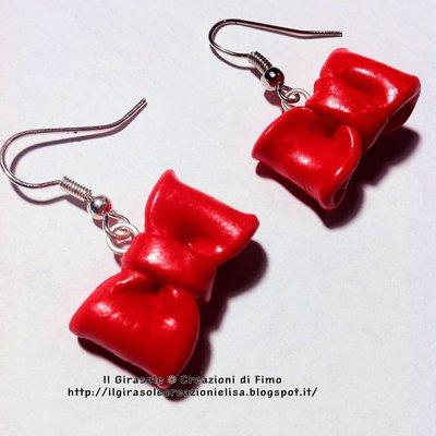 Orecchini Fiocco Rosso Fimo pendenti