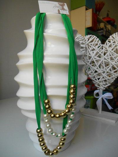 collana in lycra tre fili, verde