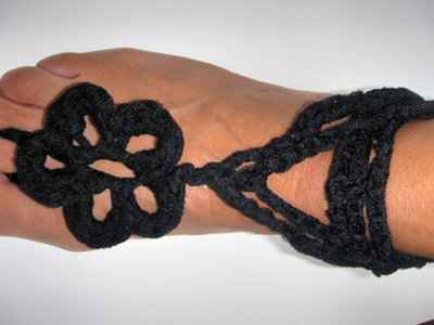 cavigliera gioiello crochet nera