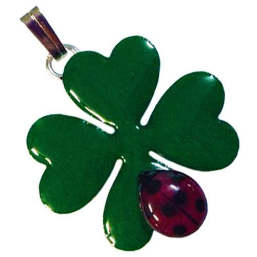 Quadrifoglio portafortuna con coccinella gioielli - Immagini di quadrifoglio a quattro foglie ...