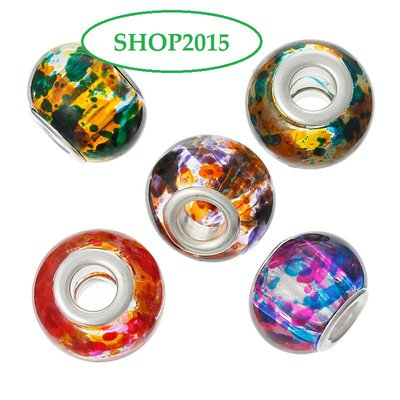 5 mix  perle a foro largo lampwork in vetro Fantasia  mix 14 x11mm
