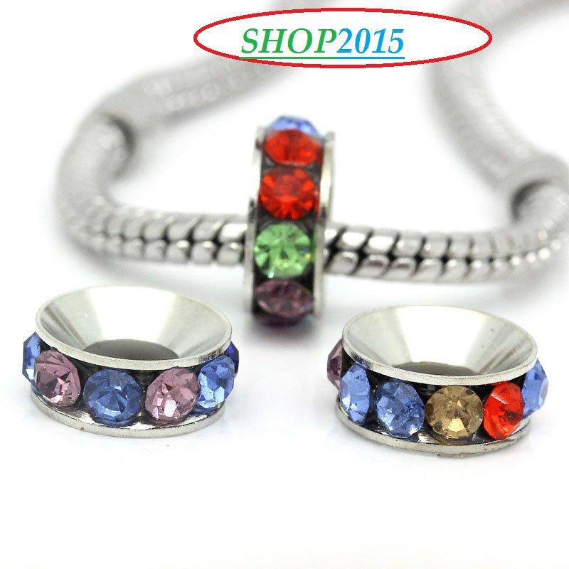 distanziatore perla a  rondella foro largo con strass colorati 11 mm foro 5 mm