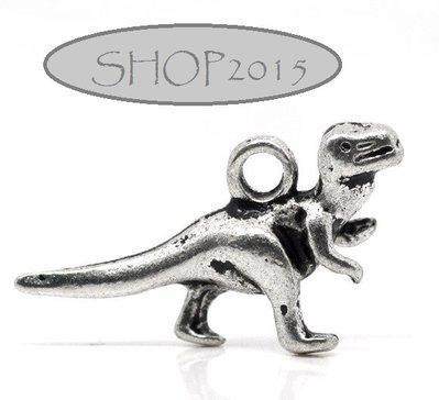 Charm Ciondolo dinosauro  Argento antico 2,2x1,2 cm