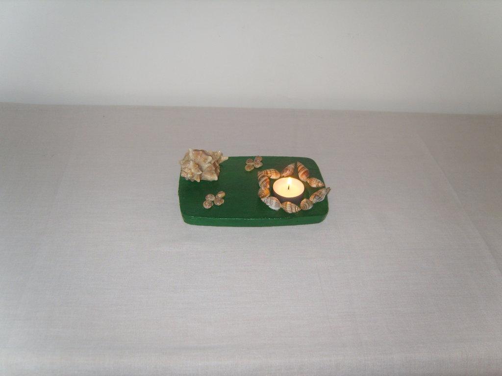Porta candela in gesso stile marino