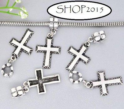 Perla croce  con gancio a  Foro Largo argento antico foro 5 mm