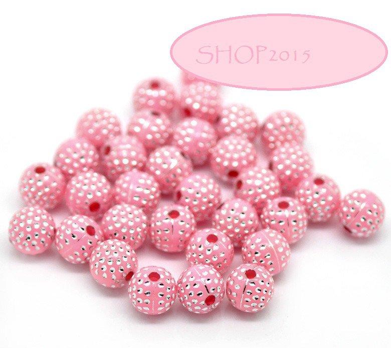 10 Distanziatori perle  a Sfera in Acrilico Rosa 8mm