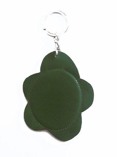 Portachiavi donna con il fiore verde in pelle