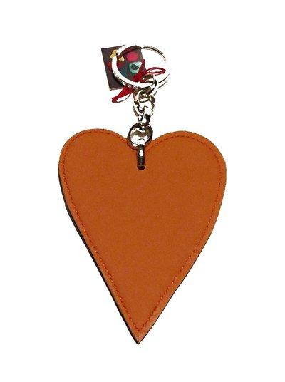 Portachiavi arancione e blu, a forma di cuore - un pensiero d'amore da regalare o regalarti