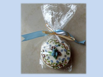 Blue soap-saponetta dipinta