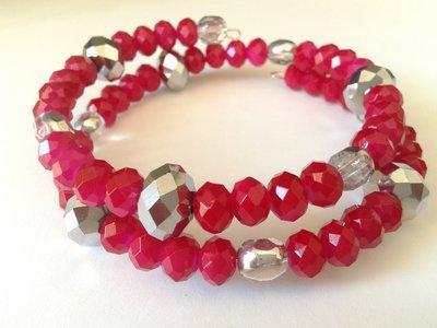 bracciale memory con rondelle di cristallo cinese color fucsia