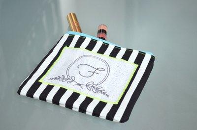 Pochette mini in cotone con applicazione