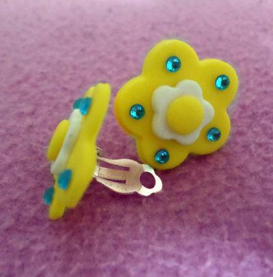 Margherita orecchini clip (senza foro)-fiore con brillantini