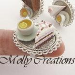 Anello fetta di torta e tazza di the in Fimo