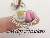 Anello Macaron e tazza di the in Fimo