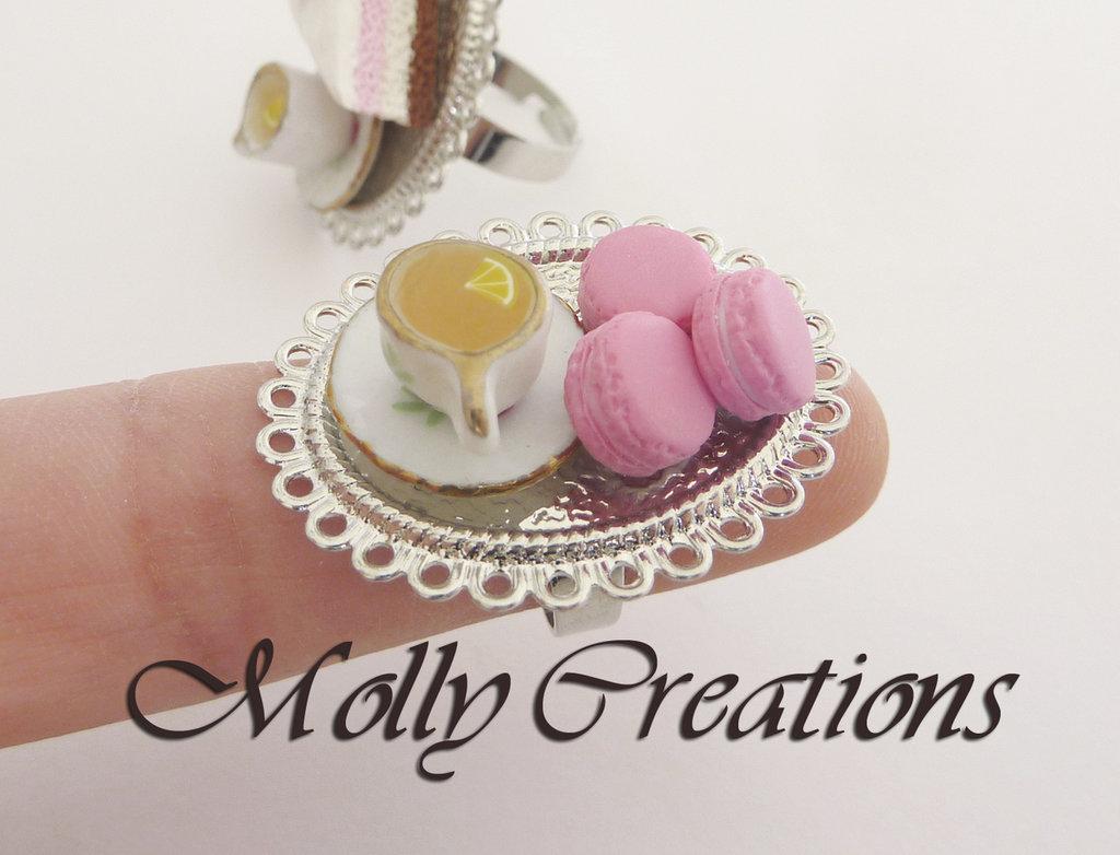 Anello Macaron e tazza di the in Fimo