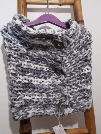 Sciarpa trasformista bianco-grigio