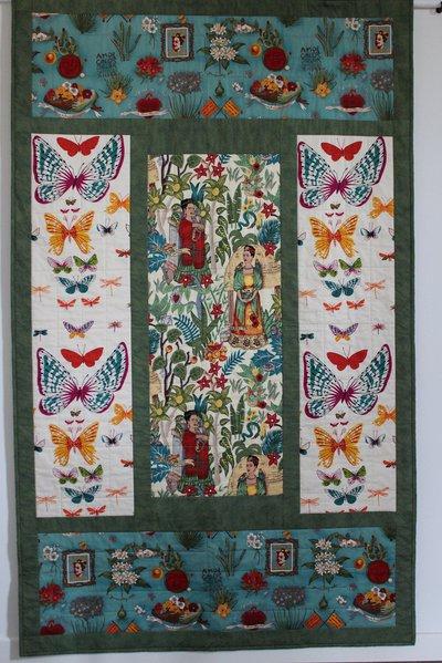 """Trapunta patchwork / pannello decorativo in cotone stile folk cm 116 x 190 """"Viva Frida!"""""""
