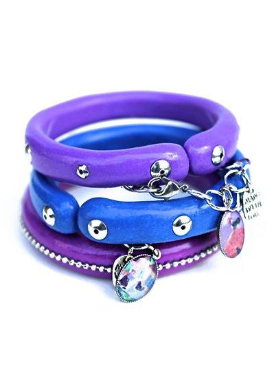 Tre bracciali colorati in pasta polimerica, blu, viola e vinaccia; Pezzi unici