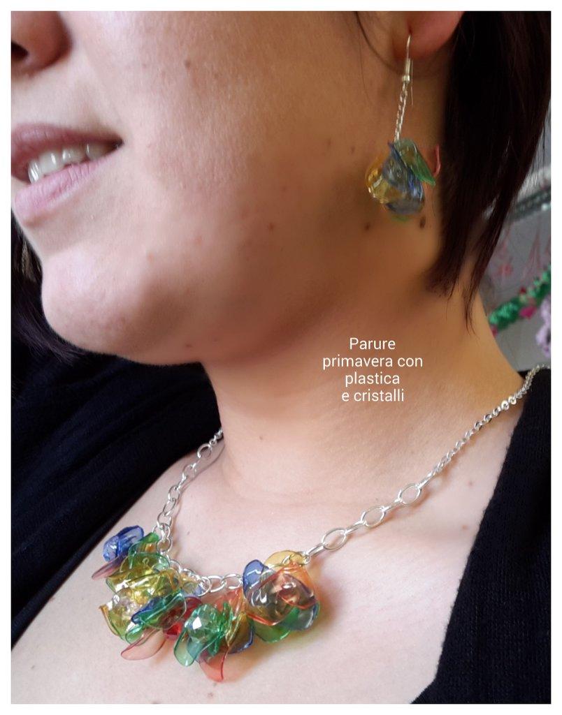 Parure primavera Orecchini e girocollo in plastica colorata