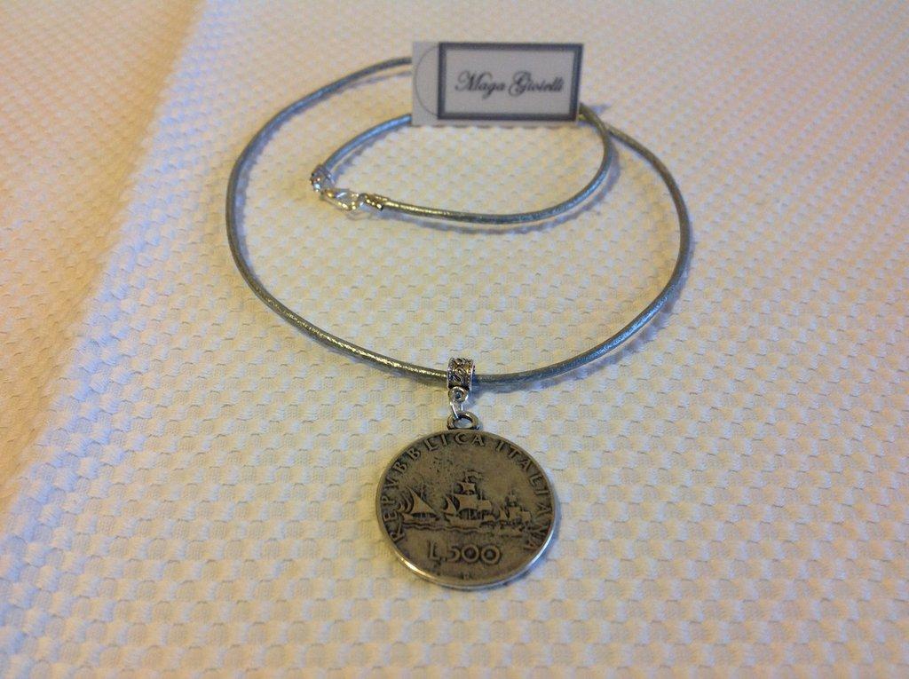 """Girocollo argento con moneta """"Le Lire"""""""
