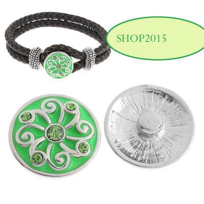 bottone a pressione, clip smaltato verde fiore con strass   2 cm
