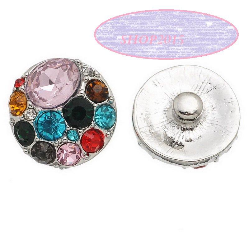 bottone a pressione, clip 2 cm dia  con strass multicolor